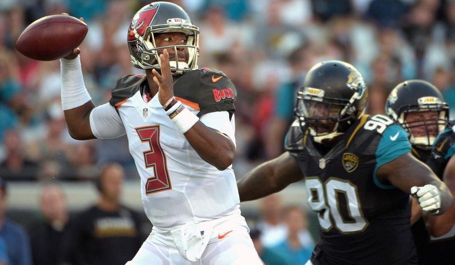 FILE - In this Aug. 20, 2016, file photo, Tampa Bay Buccaneers quarterback Jameis Winston (3) throws a pass as he is pressured by Jacksonville Jaguars defensive tackle Malik Jackson (90) during the first half of an NFL preseason football game in Jacksonville, Fla. The Falcons were 6-1 before their season began to unravel when another rookie, Winston, led the Tampa Bay Buccaneers to a 23-20 overtime win in Atlanta. (AP Photo/Phelan M. Ebenhack, File)
