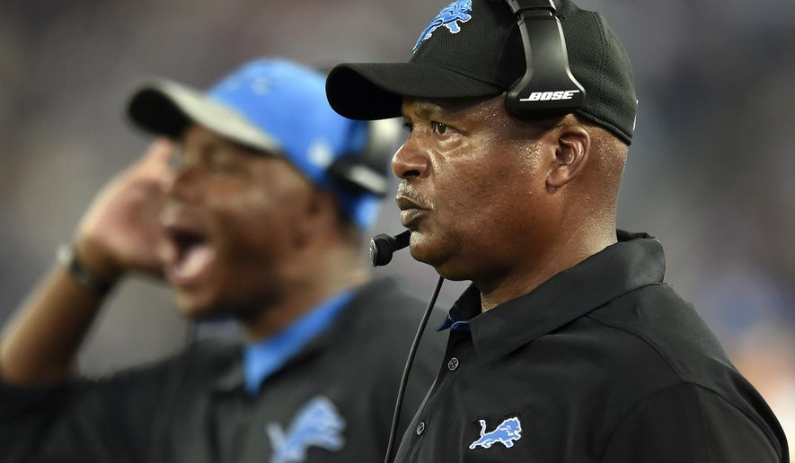 FILE - In this Aug. 27, 2016, file photo, Detroit Lions head coach Jim Caldwell, right, watches from the sideline in the first half of a preseason NFL football game against the Baltimore Ravens in Baltimore. The Lions open the season on the road Sunday against the Indianapolis Colts. (AP Photo/Gail Burton, File)