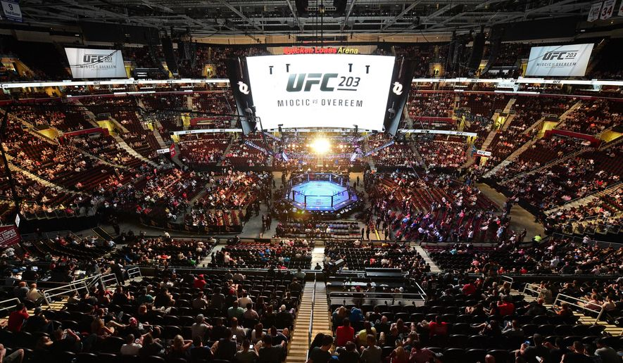 Fans sit in their seats at UFC 203 on Saturday, Sept. 10, 2016, in Cleveland. (AP Photo/David Dermer)