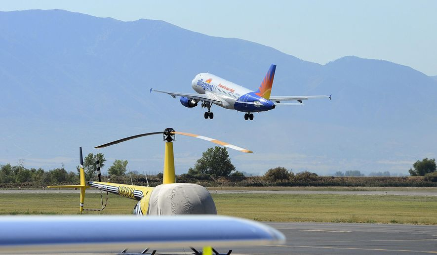 An Allegiant Air flight takes off from the Provo Airport in Provo, Utah to begin the 10:48 a.m. flight to Phoenix-Mesa, Wednesday morning, Aug. 31, 2016. People are increasingly flying out of small airports in Provo and Ogden to take advantage of less expensive tickets and fewer crowds(Scott Sommerdorf/The Salt Lake Tribune via AP)
