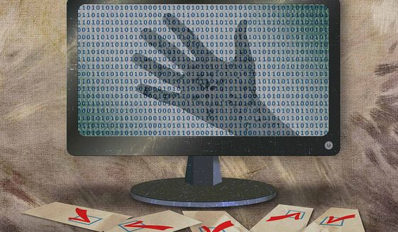 Cyber Security Threat Against Elections Illustration by Greg Groesch/The Washington Times