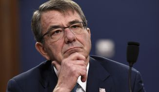 """This is something that's new in this war, not something you would've seen back in the Gulf War, but it's an important new capability, and it is an important use of our Cyber Command and the reason that Cyber Command was established in the first place,"" Defense Secretary Ashton Carter told reporters about fighting the Islamic State. (Associated Press)"