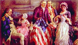 General George Washington, Major George Ross, Robert Morris, Betsy Ross with the first American flag, approved by Congress on June 14, 1777. (Shutterstock)