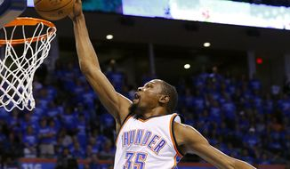 Former Oklahoma City Thunder forward Kevin Durant earned $56.2 million this past season. (AP Photo/Alonzo Adams)