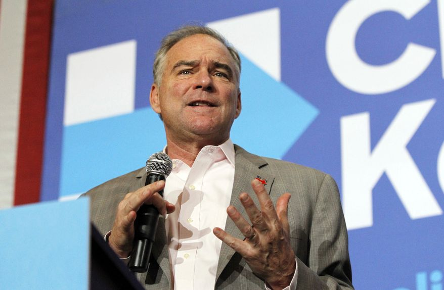 Democratic vice presidential candidate U.S. Sen. Tim Kaine speaks during a campaign stop at Stivers School for the Arts in Dayton, Ohio, Monday, Sept. 12, 2016. Kaine ended the stop talking about Hillary Clinton's health after after Clinton appeared to faint on Sunday while getting into her car. (Chris Stewart/Dayton Daily News via AP)
