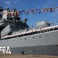 In this photo released by China's Xinhua News Agency, a Russian naval ship arrives in port in Zhanjiang in southern China's Guangdong Province, Monday, Sept. 12, 2016. The Chinese and Russian navies launched eight days of war games in the South China Sea on Monday, in a sign of growing cooperation between their armed forces against the backdrop of regional territorial disputes. (Zha Chunming/Xinhua via AP)