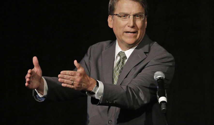 """FILE - In this June 24, 2016 file photo, North Carolina Gov. Pat McCrory speaks during a candidate forum in Charlotte, N.C. The NCAA has pulled seven championship events from North Carolina, including opening-weekend men's basketball tournament games, for the coming year due to a state law that some say can lead to discrimination against LGBT people. In a news release Monday, Sept. 12, 2016, the NCAA says the decision by its board of governors came """"because of the cumulative actions taken by the state concerning civil rights protections."""" The law known as HB2 was signed into law by Gov. McCrory earlier this year. (AP Photo/Chuck Burton, File)"""