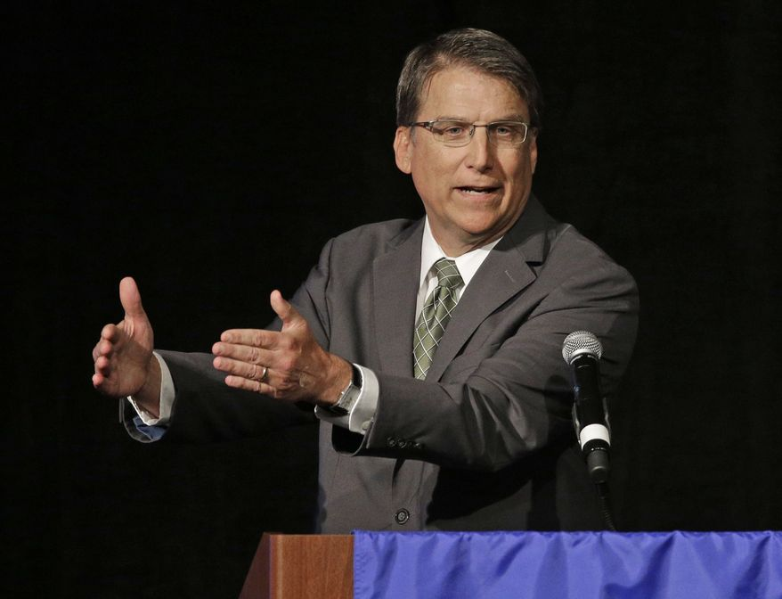 "FILE - In this June 24, 2016 file photo, North Carolina Gov. Pat McCrory speaks during a candidate forum in Charlotte, N.C. The NCAA has pulled seven championship events from North Carolina, including opening-weekend men's basketball tournament games, for the coming year due to a state law that some say can lead to discrimination against LGBT people. In a news release Monday, Sept. 12, 2016, the NCAA says the decision by its board of governors came ""because of the cumulative actions taken by the state concerning civil rights protections."" The law known as HB2 was signed into law by Gov. McCrory earlier this year. (AP Photo/Chuck Burton, File)"