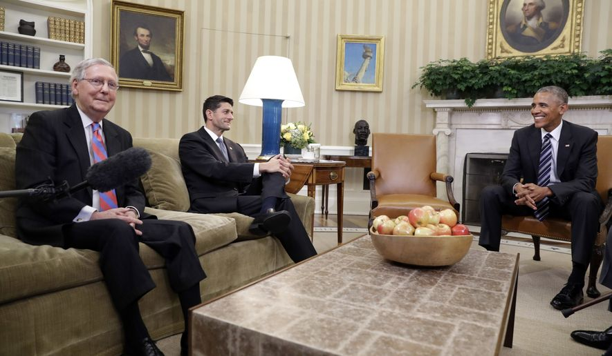 President Barack Obama, right, smiles at the end of a meeting with Senate Majority Leader Mitch McConnell, R-Ky., left, and Speaker of the House Paul Ryan, R-Wis., in the Oval Office of the White House, Monday, Sept. 12, 2016, in Washington. Also attending were Senate Democratic Leader Harry Reid, of Nevada, and House Democratic Leader Nancy Pelosi, of California. The meeting was to discuss priorities for the remainder of the September session. (AP Photo/Jacquelyn Martin)