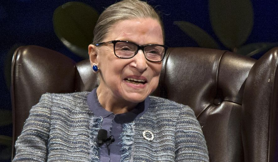 U.S. Supreme Court Justice Ruth Bader Ginsburg laughs on stage during a public event Monday, Sept. 12, 2016, inside the Purcell Pavilion at Notre Dame in South Bend, Ind. (Robert Franklin/South Bend Tribune via AP)