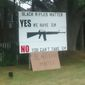 """Maine resident Linc Sample posted an image online of a """"Black Rifles Matter"""" sign he erected on his property, which was apparently vandalized. (Facebook)"""