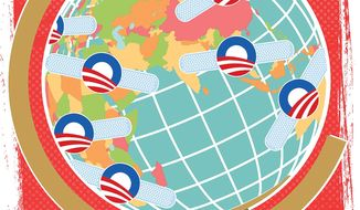 Illustration on Obama's late term global trouble shooting by Linas Garsys/The Washington Times