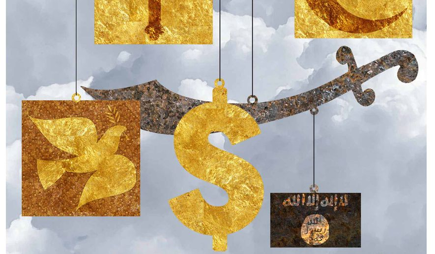 Illustration on the Papal view of materialism, religious ideology and violence by Alexander Hunter/The Washington Times
