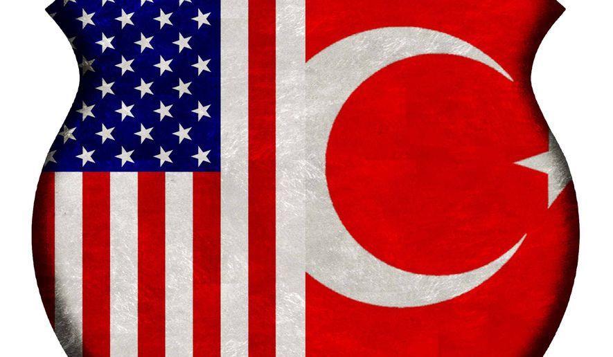 Illustration on the US/Turkey alliance by Alexander Hunter/The Washington Times
