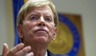 In this July 22, 2016 file photo, former Ku Klux Klan leader David Duke talks to the media at the Louisiana Secretary of State's office in Baton Rouge, La.  (AP Photo/Max Becherer, File)