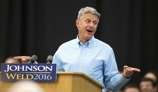 In this Sept. 3, 2016, file photo, Libertarian presidential candidate Gary Johnson speaks during a campaign rally in Des Moines, Iowa. (AP Photo/Scott Morgan, File)