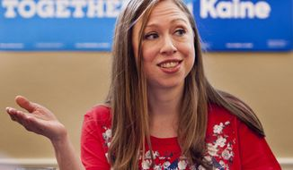 Chelsea Clinton answers questions at a Women in Leadership roundtable in Winston-Salem, North Carolina. (Associated Press) ** FILE **