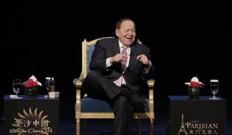 U.S. billionaire Sheldon Adelson speaks during a press conference for the opening of Parisian Macao in Macau, Tuesday, Sept. 13, 2016. Adelson was set to throw open the doors Tuesday to the French-themed Parisian Macao, the mogul's fifth property in the former Portuguese colony. (AP Photo/Kin Cheung) ** FILE **