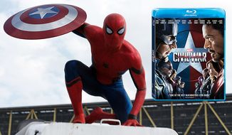 "Spider-Man (Tom Holland) stops by to help Iron Man in ""Captain America: Civil War,"" available on Blu-ray from Walt Disney Studios Home Entertainment."