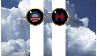 Illustration on the willful ignorance of Obama and Clinton since 9/11 by Alexander Hunter/The Washington Times