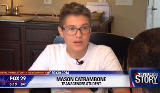 The Diocese of Camden, New Jersey is defending a local Catholic high school after officials refused to make certain accommodations for Mason Catrambone, a 14-year-old transgender student. (WTXF)