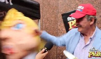 Former Mexican President Vicente Fox cracked open a Donald Trump pinata for a radio show bit in Los Angeles over the weekend, but he wasn't too surprised when he found nothing inside. (El Show de Piolin)