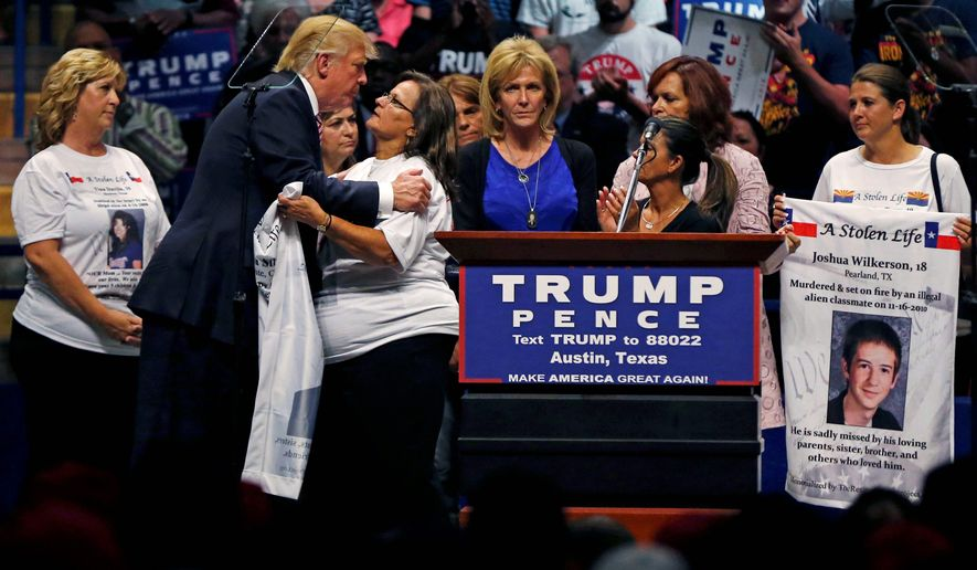 Republican presidential candidate Donald Trump has embraced and given a voice to families of those killed by illegal immigrants. (Associated Press)