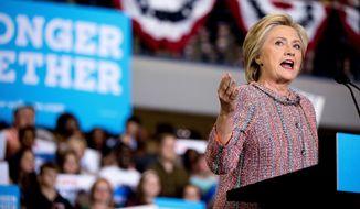 Hillary Clinton speaks at a rally Thursday at University of North Carolina in Greensboro, N.C. (Associated Press)