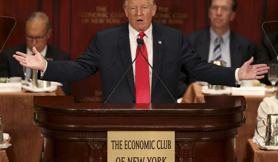 Republican presidential candidate Donald Trump speaks at a luncheon for the Economic Club of New York in New York, Thursday, Sept. 15, 2016. (AP Photo/Seth Wenig)