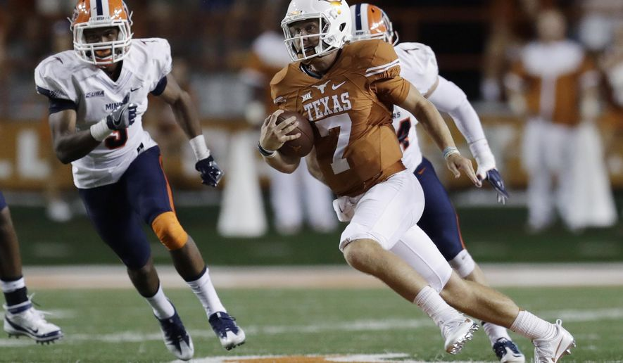 FILE - In this Sept. 10, 2016, file photo, Texas quarterback Shane Buechele (7) runs against the UTEP during an NCAA college football game in Austin, Texas. Freshman quarterback Buechele and the Longhorns are headed to the West Coast for their first road game, against California. (AP Photo/Eric Gay, File)