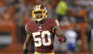 Washington Redskins outside linebacker Martrell Spaight runs on the field during an NFL preseason football game against the Cleveland Browns Thursday, Aug. 13, 2015, in Cleveland. Washington won 20-17. (AP Photo/David Richard)