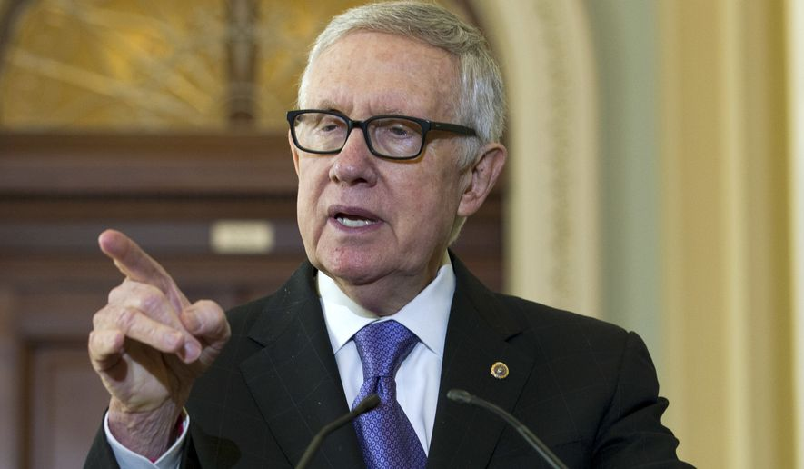 In this Sept. 14, 2016, file photo, Senate Minority Leader Harry Reid of Nevada speaks during a news conference on Capitol Hill in Washington. Reid lashed out at Donald Trump as a con artist after the Republican presidential nominee suggested the lawmaker resume exercising with the equipment that left him blind in one eye last year. (AP Photo/Jose Luis Magana, File)