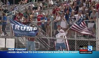 "The Ottawa-Kent Conference in West Michigan has banned fans from chanting ""USA"" and waving flags ""that carry questionable implications"" during school sporting events, in light of a controversy last week regarding students waving a Donald Trump and ""Betsy Ross"" 13-star flag. (WOOD-TV)"