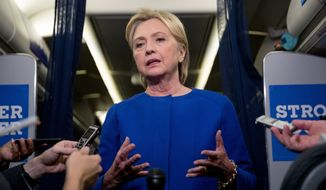 Democratic presidential candidate Hillary Clinton gives remarks on the explosion in Manhattan's Chelsea neighborhood onboard her campaign plane at Westchester County Airport, in White Plains, N.Y., Saturday, Sept. 17, 2016. (AP Photo/Andrew Harnik) ** FILE **
