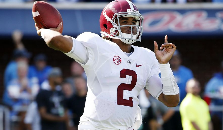 Alabama quarterback Jalen Hurts (2) attempts a pass against Mississippi in the first half of an NCAA college football game, Saturday, Sept. 17, 2016 in Oxford, Miss. (AP Photo/Rogelio V. Solis)