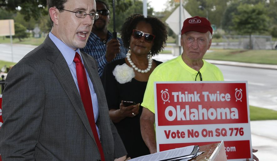 In this Tuesday, Sept. 13, 2016 photo, Marc Hyden, national advocacy coordinator for Conservatives Concerned About the Death Penalty, speaks on Oklahoma state question 776 in Oklahoma City. The state question is asking Oklahoma voters to enshrine the death penalty in the state's nearly 100-year-old constitution and is facing opposition from groups on opposite ends of the political spectrum. (AP Photo/Sue Ogrocki)