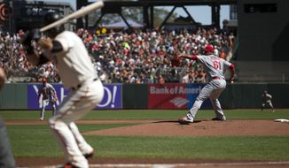 St. Louis Cardinals starting pitcher Alex Reyes (61) delivers against the San Francisco Giants during the first inning of a baseball game, Sunday, Sept. 18, 2016, in San Francisco. (AP Photo/D. Ross Cameron)