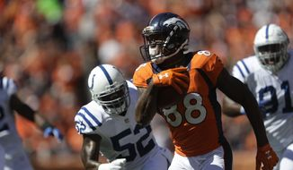 Denver Broncos outside linebacker Von Miller rushes against the Indianapolis Coltsduring the first half in a NFL football game, Sunday, Sept. 18, 2016, in Denver. (AP Photo/Joe Mahoney)