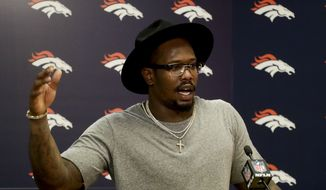 Denver Broncos outside linebacker Von Miller talks during news conference after a NFL football game against the Indianapolis Colts, Sunday, Sept. 18, 2016, in Denver. (AP Photo/Jack Dempsey)
