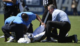 San Diego Chargers running back Danny Woodhead is attended to after an injury during the first half of an NFL football game against the Jacksonville Jaguars Sunday, Sept. 18, 2016, in San Diego. (AP Photo/Denis Poroy)