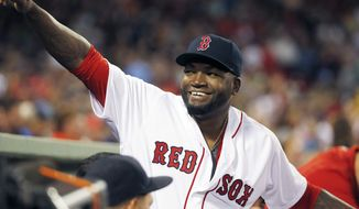 Boston Red Sox's David Ortiz waves to fans before a baseball game against the New York Yankees in Boston, Sunday, Sept. 18, 2016. (AP Photo/Michael Dwyer)