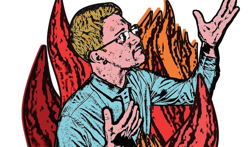 Illustration on Edward Snowdon by Linas Garsys/The Washington Times
