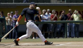 FILE - In this Aug. 30, 2016, file photo, former NFL quarterback Tim Tebow hits during batting practice for baseball scouts and the media during a showcase on the campus of the University of Southern California, in Los Angeles. The 2007 Heisman Trophy winner and former NFL quarterback got to the New York Mets' complex early Monday, Sept. 19, 2016, with his first workout as part of their instructional league team to begin later in the morning. (AP Photo/Chris Carlson, File)