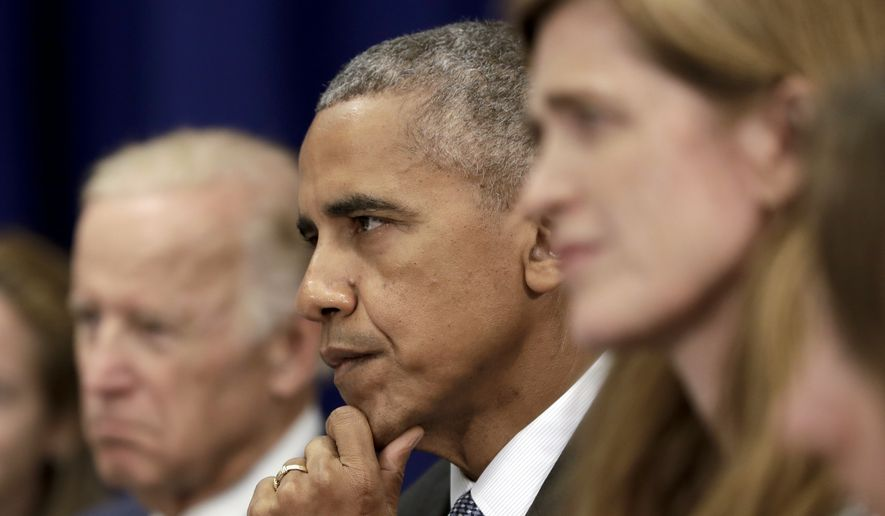 President Obama is joined by Vice President Joseph R. Biden and Ambassador Samantha Power at the United Nations in New York. (Associated Press)