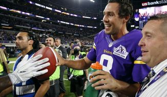 Minnesota Vikings quarterback Sam Bradford (8) walks off the field after an NFL football game against the Green Bay Packers Sunday, Sept. 18, 2016, in Minneapolis. The Vikings won 17-14. (AP Photo/Andy Clayton-King)
