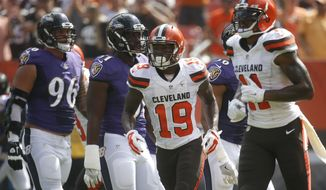 Cleveland Browns wide receiver Corey Coleman (19) runs to the sideline after scoring a touchdown in the first half of an NFL football game against the Baltimore Ravens, Sunday, Sept. 18, 2016, in Cleveland. (AP Photo/Ron Schwane)