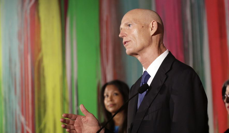 Florida Gov. Rick Scott speaks during a news conference at Wynwood Walls, Monday, Sept. 19, 2016, in the Wynwood neighborhood of Miami. (AP Photo/Lynne Sladky) ** FILE **