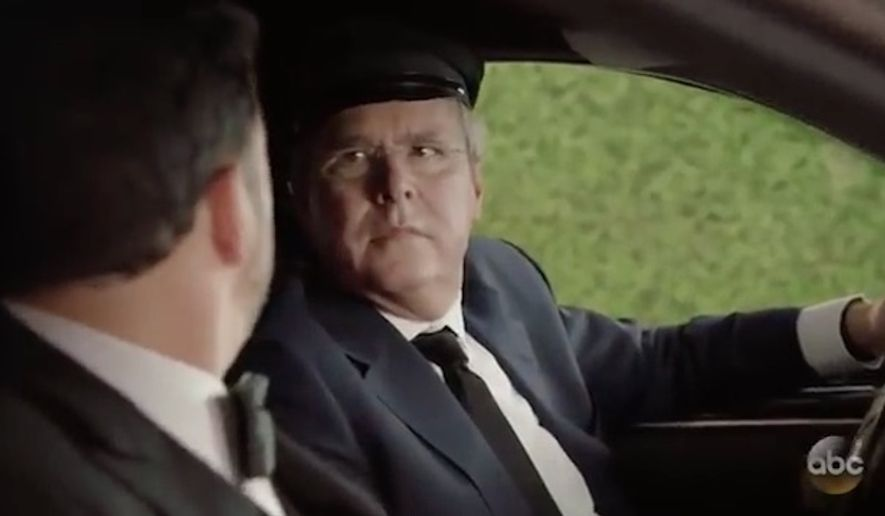 Former Republican presidential candidate Jeb Bush made a surprise cameo as Jimmy Kimmel's Uber driver in the opening skit at the Emmys Sunday night. (ABC)