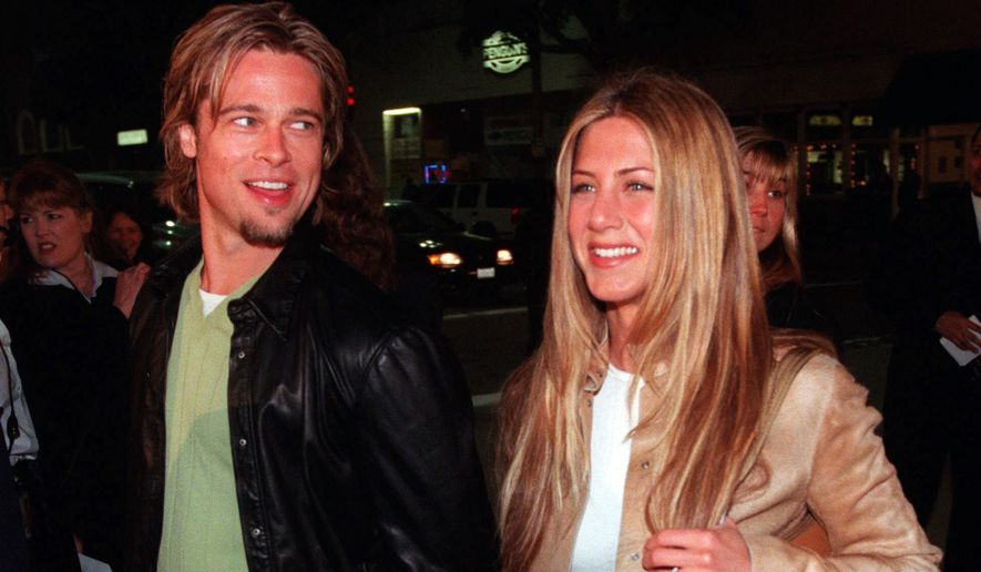 "In this March 14, 2000 file photo, actor Brad Pitt, left, and actress Jennifer Aniston, arrive at the premiere of the new film ""Erin Brockovich,"" in the Westwood section of Los Angeles. Angelina Jolie Pitt has filed for divorce from Brad Pitt, bringing an end to one of the world's most star-studded, tabloid-generating romances. This is the second marriage for Pitt, who previously wed Jennifer Aniston. (AP Photo/Chris Pizzello, File) **FILE**"