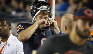 Chicago Bears quarterback Jay Cutler (6) talks on a phone on the sideline during the second half of an NFL football game against the Philadelphia Eagles, Monday, Sept. 19, 2016, in Chicago. (AP Photo/Nam Y. Huh)
